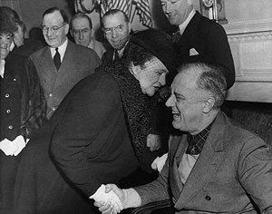 Frances Perkins, with President Franklin Delano Roosevelt