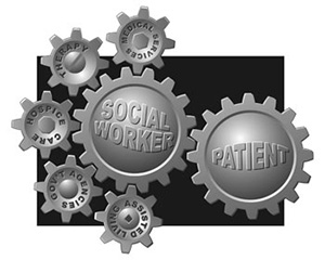 Interlocking gears: Social Worker, patient, medical services, therapy, hospice care, government agency, and assisted living.