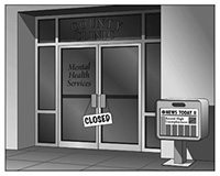 mental health clinic with 'closed' sign
