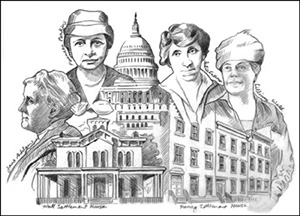 Jane Addams, Francis Perkins, Lillian Wald, Julia Lathrop and buildings