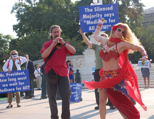 A dancer with the West Virginia Belly Dancers for Single Payer