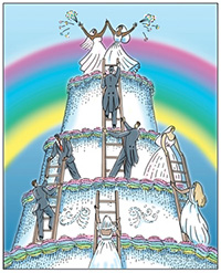 Drawing: Rainbow background with same sex couples helping each other climb a wedding cake