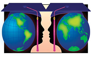West/East globe sections over silhouettes of grads facing each other
