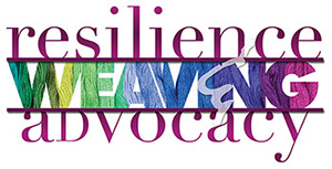 Social Work Month logo: 'resilience, weaving, advocacy''
