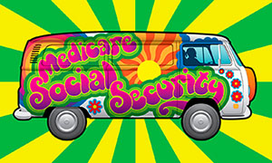 a 'Hippy Van' with 'Medicare' and 'Social Security' painted on the side