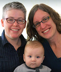Lori Watsen, left, poses with her wife, Sharene, and their son, Conley.
