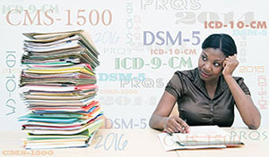 black woman sitting at table looking at a huge stack of forms, with terms floating in the air