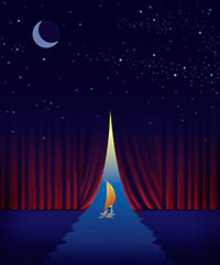 sailing ship going through opening in a curtain that blends into a night sky at the top
