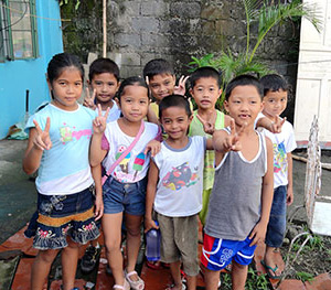 Children in Tacloban City in the Philippines