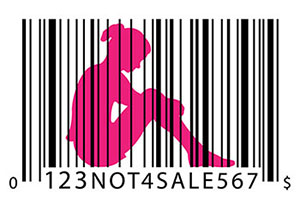 silhouette of girl with price code like bars and underneith '123NOT4SALE567'