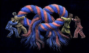 people fighting with a massivee knot