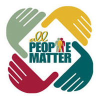 'All people matter' framed by four cartoon colored hands as frame