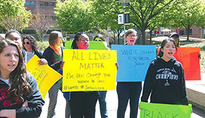 Social work students march on April 24 in Baltimore, following the death of Freddie Gray.
