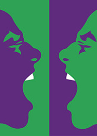 Purple/Green positive and negative versions of same face yelling at each other