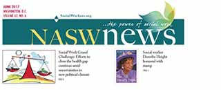 NASW News front page for April 2017