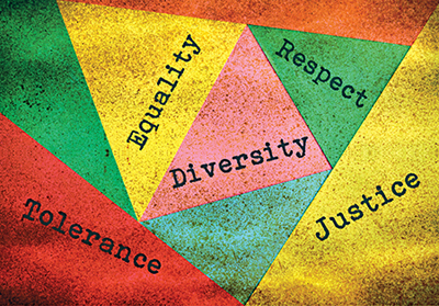 graphic with the words tolerance, justice, equality, diversity, respect