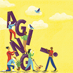 illustration of people with letters that spell out AGING