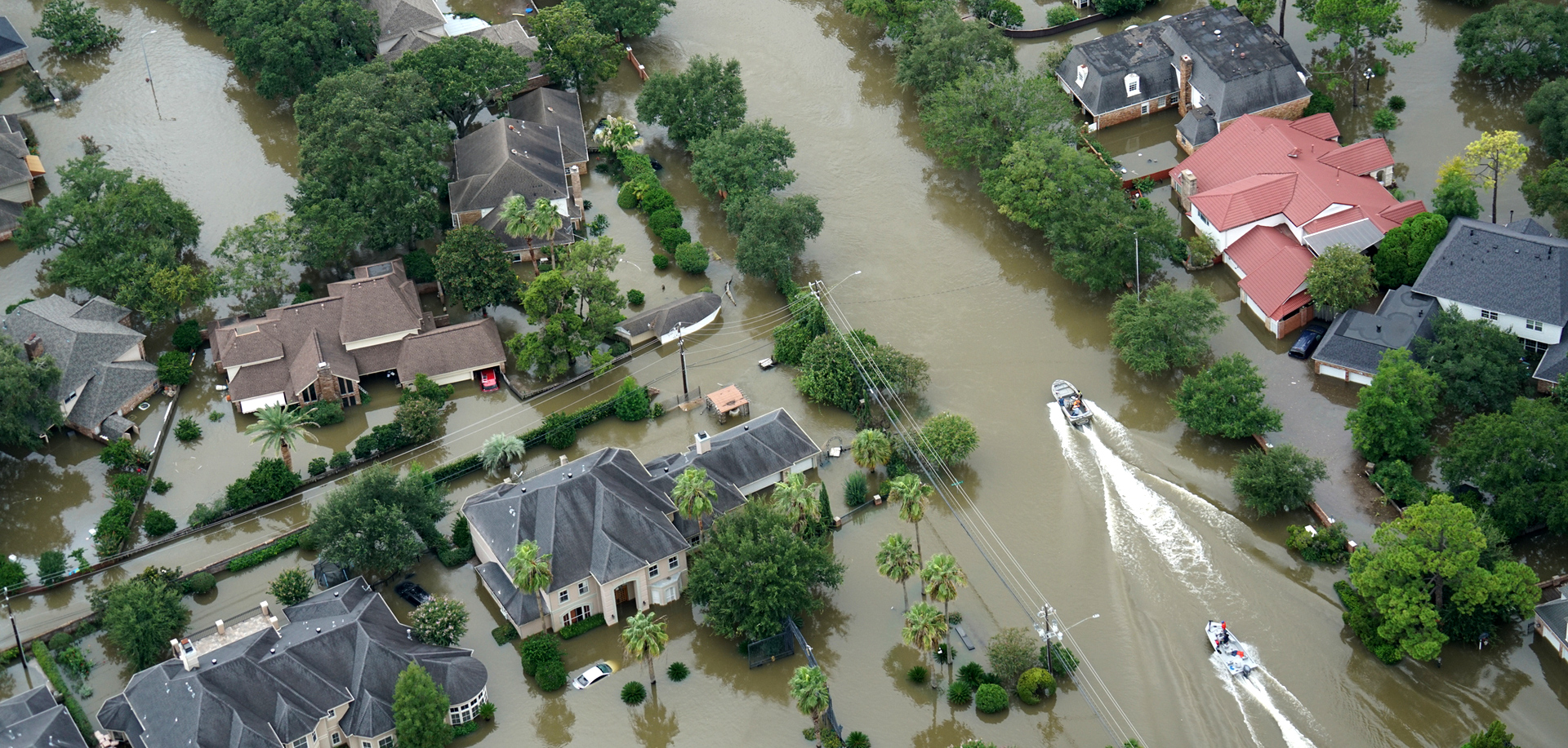 birds-eye view of flooded residential neighborhood