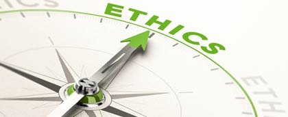 compass with the word ethics