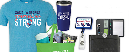 social work month t-shirt, travel mug and other gear with phrase 'Social Workers, generations strong' on them