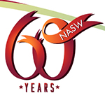NASW, 60 years spelled out in red ribbon
