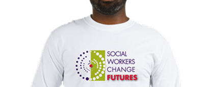 man wearing Social Workers Change Futures t-shirt
