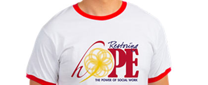man in restoring hope t-shirt