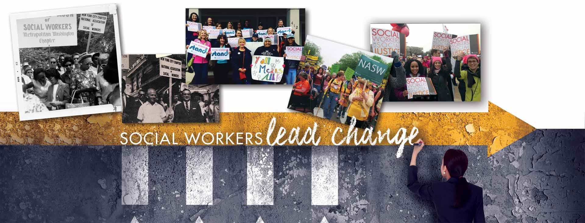 Social workers lead change: collage of people at protest marches and demonstrations