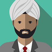 man with beard in suit and turban
