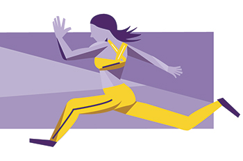 graphic of a runner in yellow athletic gear