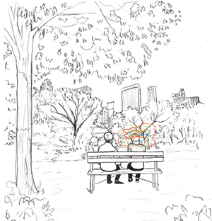 line drawing with two people sitting on a park bench, one with colorful squiggles around their head