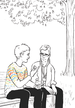 line drawing of two people sitting on park bench, one person has colorful squiggly lines in their sweater