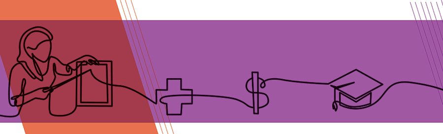 line drawing of healthcare worker, cross, dollar sign, graduation cap