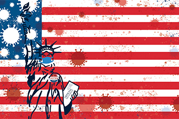 American flag, statue of Liberty, coronavirus orbs