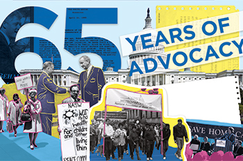 65 years of advocacy, collage of political activity