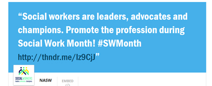 screenshot of a tweet about social work month