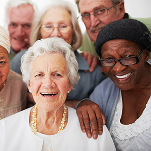 group of older adults, smiling