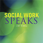 Social Work Speaks, words on a green background