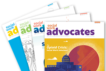 graphic of Social Work Advocates magazine covers